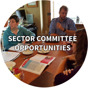 a circle of a committee meeting that links to sector committee opportunities page