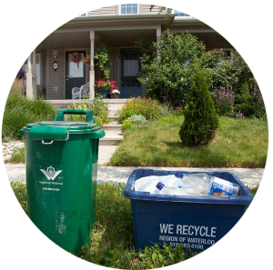 A circle of green and blue bins