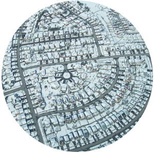 a circle of suburbs in the snow
